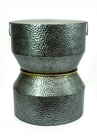 A Touch of Design Savi Hammered Iron Metal End Table, , rollover