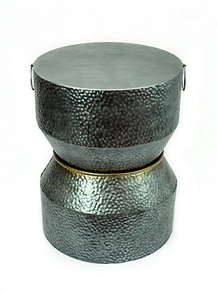 A Touch of Design Savi Hammered Iron Metal End Table, , large