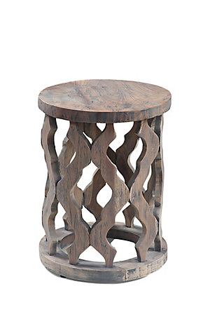 A Touch of Design Monaco Carved Natural Teak Wood Accent Table, , large