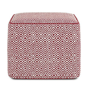 Simpli Home Brynn Transitional Square Pouf in Patterned Maroon and Natural Cotton, Red, large