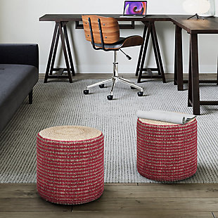 Simpli Home Larissa Contemporary Round Braided Pouf in Natural and Maroon Jute, Red, rollover