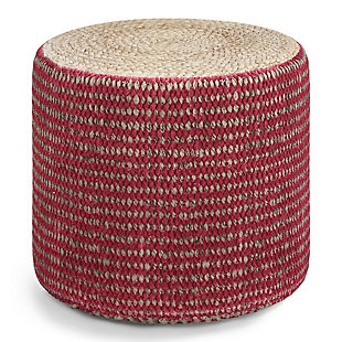 Simpli Home Larissa Contemporary Round Braided Pouf in Natural and Maroon Jute, Red, large