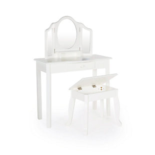 Kids Classic White Vanity and Stool, , rollover