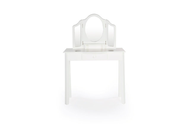 Kids Classic White Vanity and Stool, , large