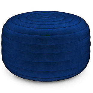 Simpli Home Vivienne Contemporary Round Pouf in Blue Velvet Velvet, Blue, large