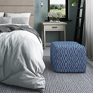 Simpli Home Graham Transitional Square Pouf in Patterned Teal and Natural Cotton, Blue, rollover