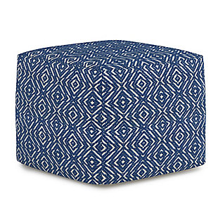 Simpli Home Graham Transitional Square Pouf in Patterned Teal and Natural Cotton, Blue, large