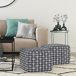 Simpli Home Noreen Transitional Square Pouf in Slate Gray and White Handloom Woven Pattern, Gray, rollover