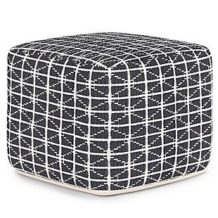Simpli Home Noreen Transitional Square Pouf in Slate Gray and White Handloom Woven Pattern, Gray, large