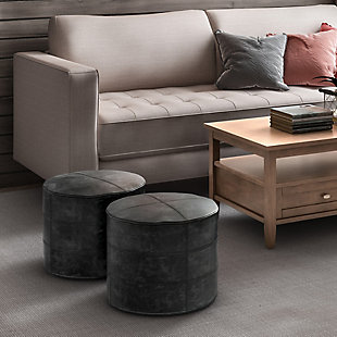Simpli Home Connor Transitional Round Pouf in Distressed Black Leather, Black, rollover