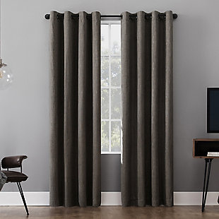"Sun Zero Gavlin Crosshatch Jacquard Thermal Extreme 100% Blackout 52"" x 84"" Gray Grommet Curtain Panel, Gray, rollover"
