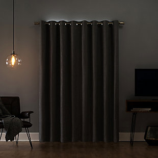 "Sun Zero Gavlin Crosshatch Jacquard Thermal Extreme 100% Blackout 52"" x 84"" Gray Grommet Curtain Panel, Gray, large"