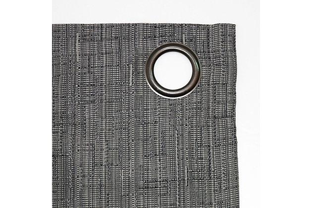 "Sun Zero Gavlin Crosshatch Jacquard Thermal Extreme 100% Blackout 52"" x 84"" Gray Grommet Curtain Panel, Gray, large"