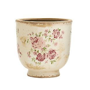 "7.5"" Tuscan Ceramic Floral Print Planter, , large"