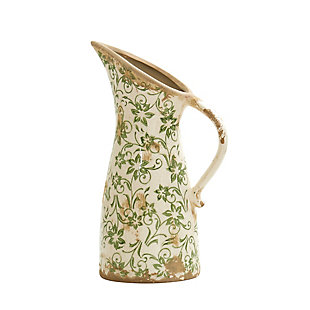 "6.5"" Tuscan Ceramic Green Scroll Pitcher Vase, , large"
