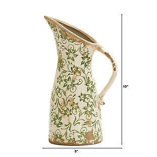 """6.5"""" Tuscan Ceramic Green Scroll Pitcher Vase, , large"""