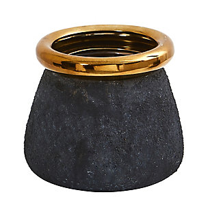 "10"" Stone Planter with Bronze Rim, , large"