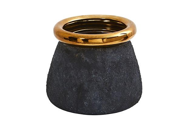 "10"" Stone Planter with Bronze Rim, , large"