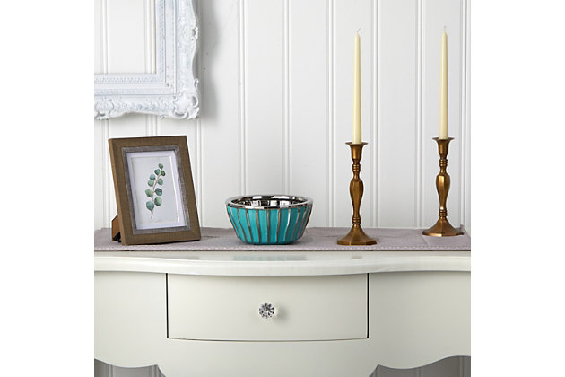 """7.25"""" Teal Vase with Silver Burnishing, , large"""