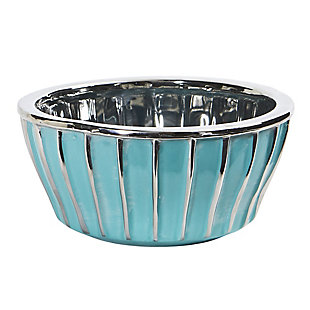 "7.25"" Teal Vase with Silver Burnishing, , large"