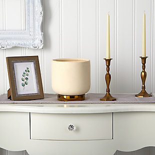 """8"""" Elegance Ceramic Planter with Gold Accents, , rollover"""