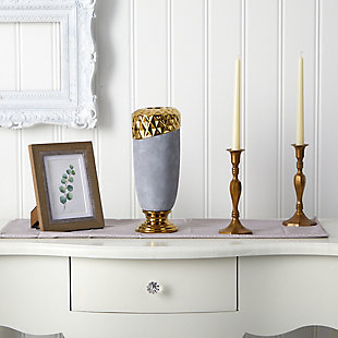 "11.5"" Regal Stone Vase with Gold Accents, , rollover"