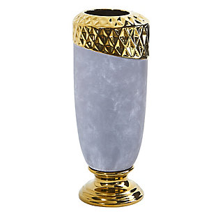 "11.5"" Regal Stone Vase with Gold Accents, , large"