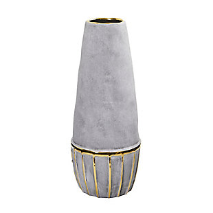 "15"" Regal Stone Decorative Vase with Gold Accents, , large"