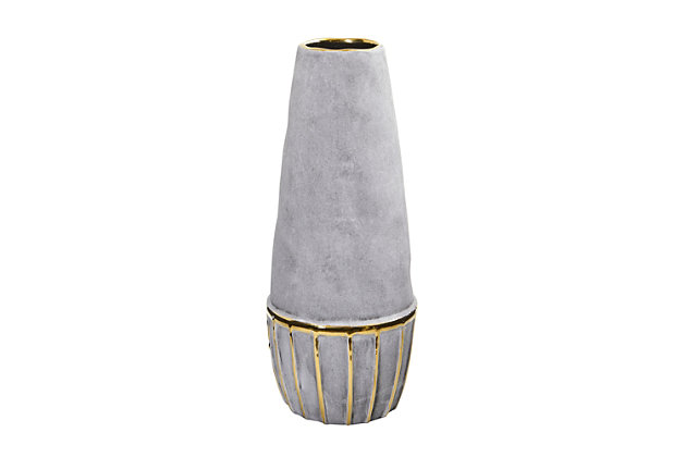 """15"""" Regal Stone Decorative Vase with Gold Accents, , large"""