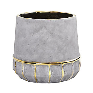 "8.5"" Regal Stone Decorative Planter with Gold Accents, , large"