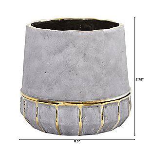 """8.5"""" Regal Stone Decorative Planter with Gold Accents, , large"""