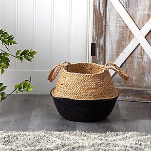 "14"" Boho Chic Handmade Cotton and Jute Black Woven Planter, , rollover"