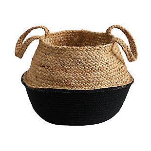 "14"" Boho Chic Handmade Cotton and Jute Black Woven Planter, , large"