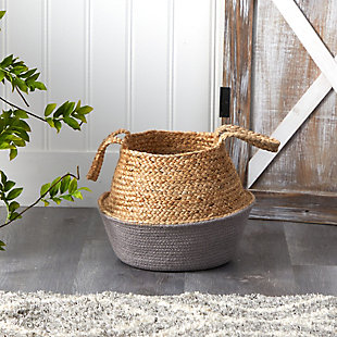 "14"" Boho Chic Handmade Cotton and Jute Gray Woven Planter, , rollover"