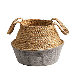 "14"" Boho Chic Handmade Cotton and Jute Gray Woven Planter, , large"