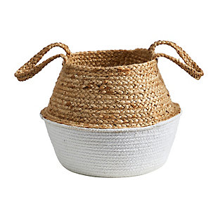"14"" Boho Chic Handmade Cotton and Jute White Woven Planter, , large"