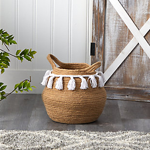 "11"" Boho Chic Handmade Natural Cotton Woven Planter with Tassels, , rollover"