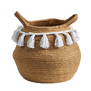 "11"" Boho Chic Handmade Natural Cotton Woven Planter with Tassels, , large"