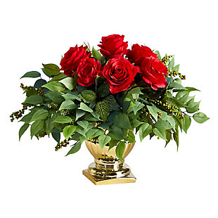 "14"" Rose Artificial Arrangement in Gold Urn, , large"