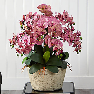 """33"""" Phalaenopsis Orchid Artificial Arrangement in White Vase, , rollover"""