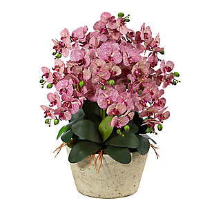 """33"""" Phalaenopsis Orchid Artificial Arrangement in White Vase, , large"""