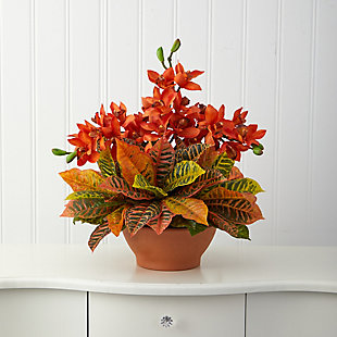 "21"" Cymbidium Orchid and Croton Artificial Arrangement in Terra Cotta Vase, , rollover"