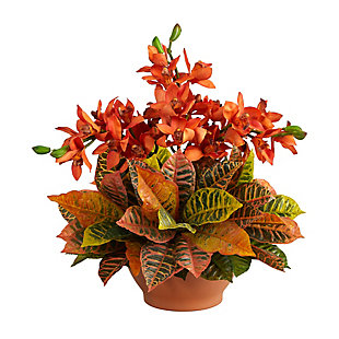 "21"" Cymbidium Orchid and Croton Artificial Arrangement in Terra Cotta Vase, , large"