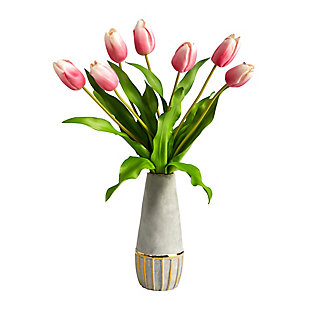 """22"""" Dutch Tulip Artificial Arrangement in Stoneware Vase with Gold Trimming, , large"""