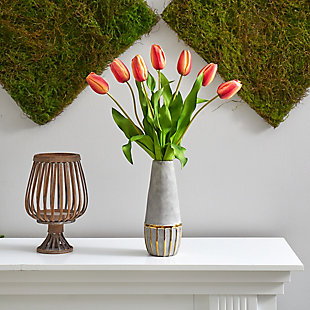 """22"""" Dutch Tulip Artificial Arrangement in Stoneware Vase with Gold Trimming, , rollover"""