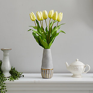 "22"" Dutch Tulip Artificial Arrangement in Stoneware Vase with Gold Trimming, , rollover"