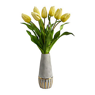 "22"" Dutch Tulip Artificial Arrangement in Stoneware Vase with Gold Trimming, , large"