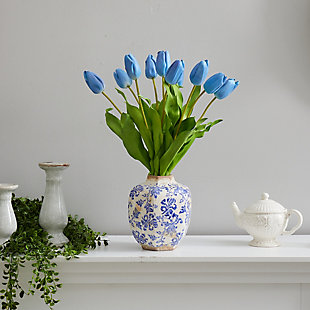 "22"" Dutch Tulip Artificial Arrangement in Blue and White Print Planter, , rollover"
