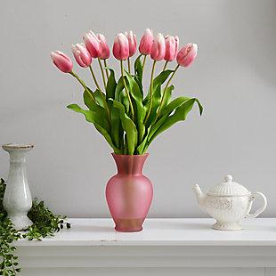 "22"" Dutch Tulip Artificial Arrangement in Rose Colored Vase, , rollover"