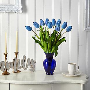 "22"" Dutch Tulip Artificial Arrangement in Blue Colored Vase, , rollover"